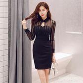 性感洋裝2019夜店女裝新款秋冬修身顯瘦蕾絲網紗黑色長袖打底性感連身裙子