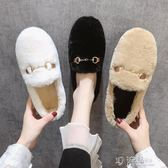 軟底毛毛鞋女冬外穿秋新款加絨棉鞋平底懶人一腳蹬豆豆鞋厚底 沸點奇跡
