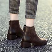 靴子 短靴女2019新款秋冬百搭網紅瘦瘦靴粗跟短筒馬丁靴平底大碼女鞋子 曼慕衣櫃