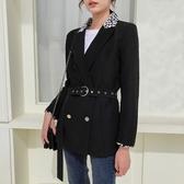 復古撞色西服修身款女西裝垂感防嗮外套秋裝款 1238#T150-C紅粉佳人