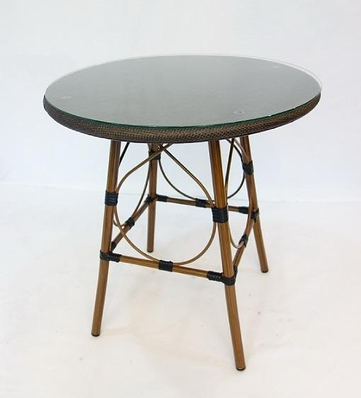 【南洋風休閒傢俱】戶外休閒桌椅系列-70公分鋁合金休閒竹節紗網餐桌  戶外餐桌 (HT318)
