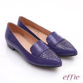 effie 輕透美型 鏡面羊皮混異材質樂福平底鞋 紫色