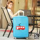《J 精選》Q版可愛卡通電車圖案藍色加厚不織布行李箱保護套/防塵套(26吋)