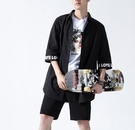 FINDSENSE H1 2018 夏季 新款 男 日本 文藝 拼接 七分袖 修