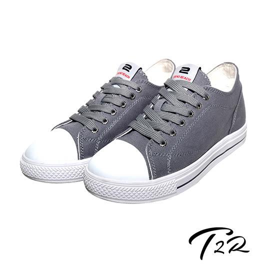 【韓國T2R】百搭帆布隱形氣墊增高鞋 7CM 灰(5600-0250)