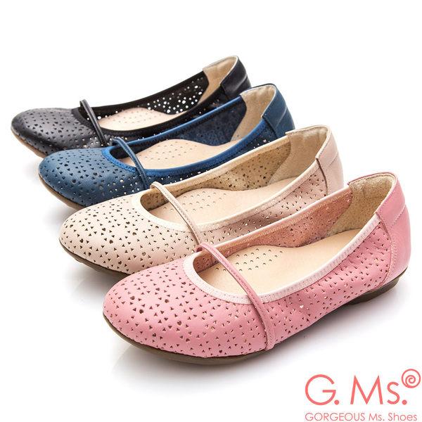 G.Ms.* MIT系列-鏤空牛皮繫帶娃娃鞋*寶藍