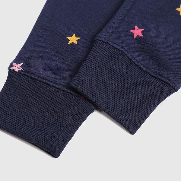 Gap女幼童 Logo刷毛鬆緊休閒長褲 661622-海軍藍