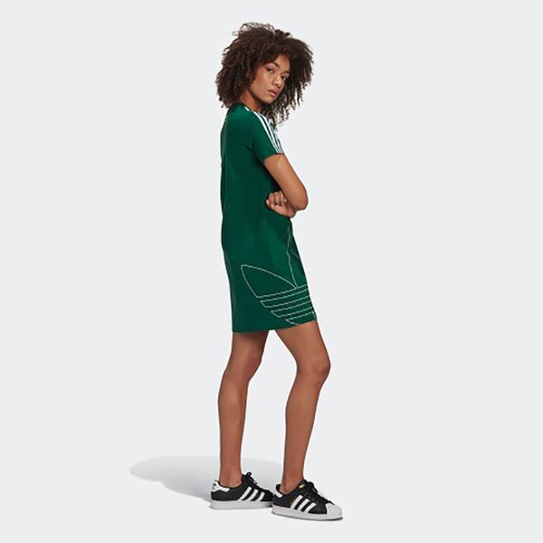【現貨】ADIDAS ADICOLOR 女裝 短袖 休閒 長版 連身裙 三葉草 大LOGO 棉質 綠【運動世界】GJ6583