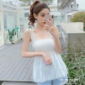 雪紡吊帶背心女夏季外穿韓國流蘇無袖性感壓褶木耳邊露肩打底上衣 流行花園