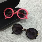 新款兒童太陽鏡小孩墨鏡寶寶眼鏡圓框金屬蛤蟆鏡男女童遮陽鏡·9號潮人館