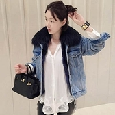 現貨灰毛領M韓版時尚百搭毛領牛仔外套寬鬆短款加絨棉服女25625
