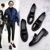 原宿小皮鞋瓢鞋學生韓版平底百搭英倫風鞋黑色皮鞋女 茱莉亞嚴選