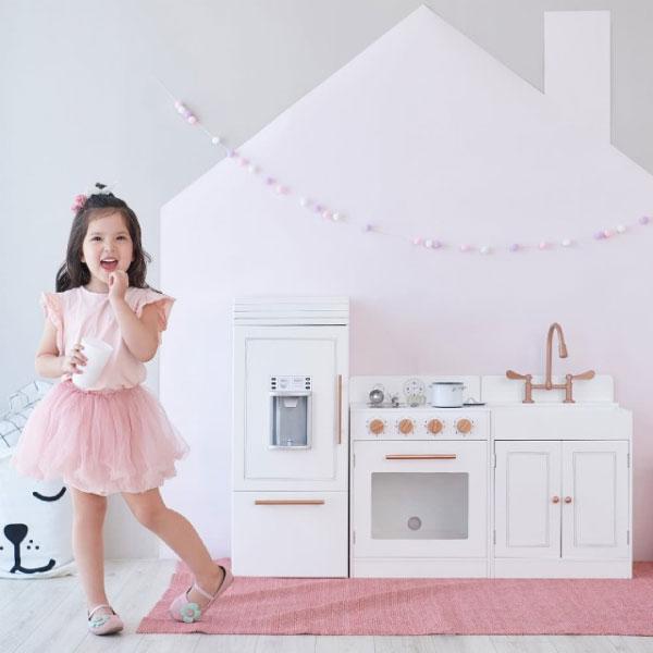 Teamson 法式巴黎木製廚房玩具|廚具組(玫瑰金白)