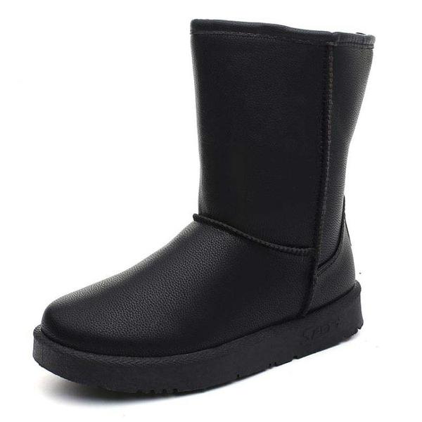 雪靴 防水雪地靴女中筒皮面韓版百搭學生加絨靴子保暖棉鞋  格蘭小舖 全館5折起