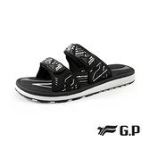 G.P(女)簡約織帶風格雙帶拖鞋 女鞋-黑白(另有黑桃.紫)