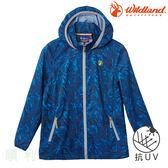 荒野 WILDLAND 兒童抗UV輕薄印花外套 0A61960 中藍色 排汗外套 防曬外套 OUTDOOR NICE