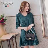 東京著衣【YOCO】質感輕甜V領小花邊荷葉下擺洋裝-S.M.L(180188)