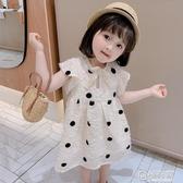 女童小香風背心裙子夏裝新款寶寶兒童洋氣韓版波點短袖洋裝
