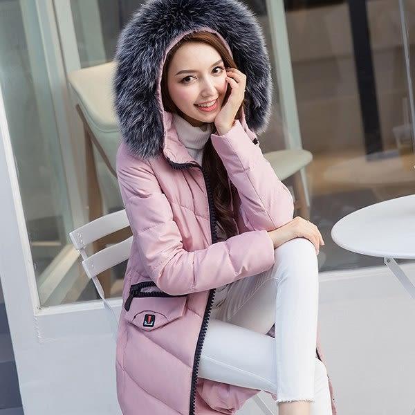 美之札[98655-QF]時尚保暖大狐狸毛絨領中長款白鴨絨羽絨外套
