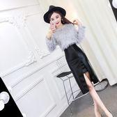 女神范衣服夜店性感女裝2018秋新款顯瘦時尚氣質夜場短裙兩件套裝 初見居家
