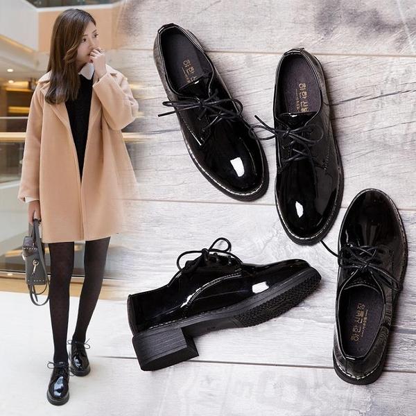 牛津鞋 黑色小皮鞋女2021新款秋冬百搭韓版加絨復古英倫風女鞋平底單鞋潮 歐歐