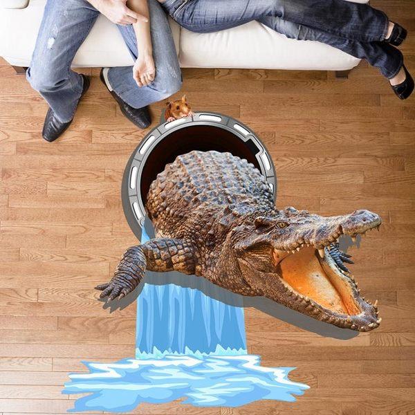 3D地貼 創意3D立體墻貼鱷魚畫客廳玄關過道地貼地板地面裝飾貼紙防水自粘 jy【好康八八折】