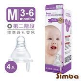 小獅王辛巴-母乳記憶超柔防漲氣標準圓孔奶嘴M號4入(3-6M)