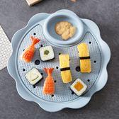 居家家雙層帶醋碟餃子盤創意餐具瀝水盤家用塑料菜盤碟子水餃盤子 電購3C