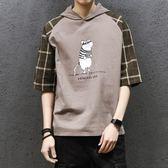 秋季寬鬆連帽學生短袖T恤男士韓版潮流體恤上衣服男裝【下殺85折起】