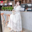 蕾絲洋裝連身裙女夏2018新款一字肩少女...