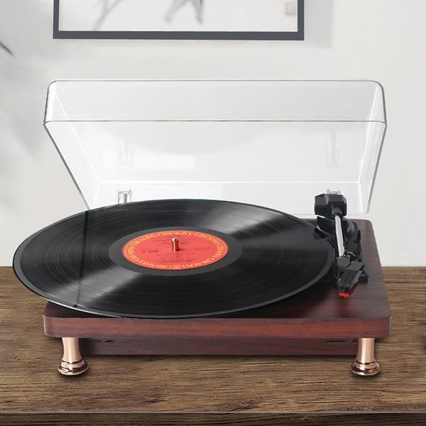 現貨 迷妳黑膠唱片機復古留聲機生日禮物老式LP歐式音樂電唱機LX 愛丫