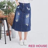 RED HOUSE-蕾赫斯-繡花牛仔長裙(藍色)