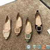 尖頭單鞋女鞋豆豆鞋子夏淺口百搭平底鞋【千尋之旅】