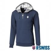 K-SWISS KS Color Hoodie刷毛連帽上衣-男-藍
