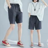 大腿粗的女生褲子女夏裝文藝鬆緊腰闊腿短褲顯瘦百搭條紋五分褲潮