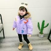 女寶寶童裝2020春季新款韓版棉衣加厚加絨外套兒童潮羽絨棉面包服 藍嵐