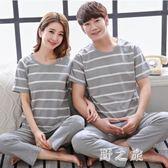 情侶睡衣中大尺碼夏季短袖長褲純棉薄款寬鬆休閒顯瘦家居服套裝 KB7830【野之旅】