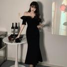 平口洋裝/一字領 夏裝新款法式性感心機復古黑色禮服胖mm修身顯瘦一字肩長款連身裙