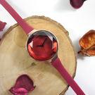 rumba time / RU22711 / Orchard Gem Silicone 紐約品牌 小巧細緻 切割玻璃鏡面 矽膠手錶 酒紅x玫瑰金框 30mm