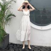 全館83折 夏季大碼女裝高腰顯瘦V領白色收腰吊帶連身裙子女