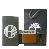 Timberland 咖啡色男性短夾 + 鑰匙圈、精美組 附原廠紙袋