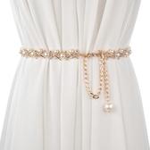 腰帶女日系甜美珍珠女士金屬細腰鏈 配裙子裝飾百搭個性鏈條腰帶窄款女-『美人季』