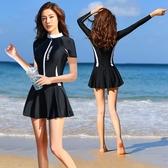 新款泳衣女連體裙式韓國ins性感游泳衣遮肚顯瘦保守學生溫泉泳裝 【中秋節】