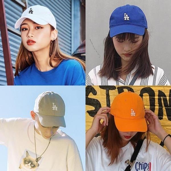 2021新品促銷 帽子女夏天韓版時尚百搭la棒球帽男小標藍色軟頂遮陽防曬鴨舌帽