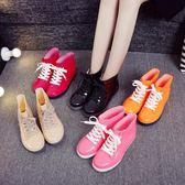 女款雨鞋低幫韓國短筒成人雨靴秋冬加絨保暖水鞋學生平底防滑膠鞋【全館八八折促銷】