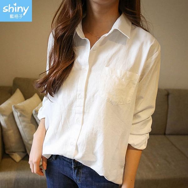 【V9150-1】shiny藍格子-瑕疵特賣‧前短後長修身顯瘦翻領長袖襯衫