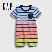 Gap嬰兒 時尚純棉短袖包屁衣 683877-多色條紋