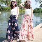 夏季女薄款雪紡褲高腰寬管褲寬鬆長褲大碼波西米亞風海邊沙灘裙褲 果果輕時尚