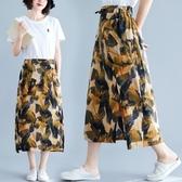 大尺碼夏新款棉麻半身裙復古文藝印花系帶寬鬆顯瘦拼接開叉A字裙女 L-XL