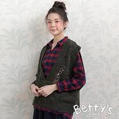 betty's貝蒂思 寬版螺紋毛衣背心(深綠)